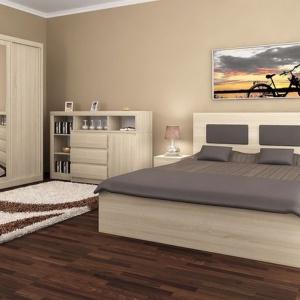 Zestaw Vist wykonany jest z płyty laminowanej w barwach dąb sonoma lub wenge. Duże łóżko z drewnianym zagłówkiem zapewnia komfort wypoczynku. Fot. Dąb Gdynia.