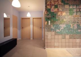W korytarzy kolor błękitny na ścianach nadaje tej części mieszkania lekkości i świeżości.