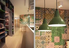 Wnęka vis a vis zabudowy kuchennej spełniła rolę domowej biblioteki w której można posiedzieć, poczytać i wypocząć.