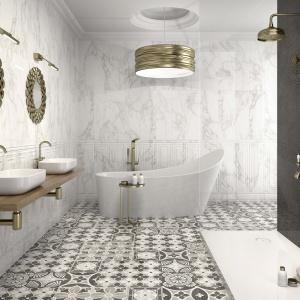 Do kompletowania z marmurem albo jego stylizacjami - płytki ceramiczne Crystal firmy Argenta. Fot. Argenta.