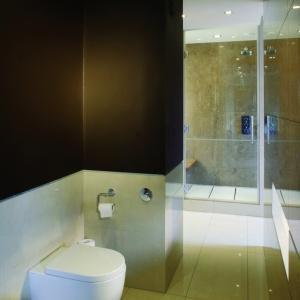 Aneks z bidetem i sedesem jest oddzielony od reszty łazienki. Przez okienko w ścianie naprzeciw widać część kąpielową. Fot. Tomasz Markowski.