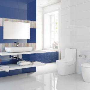 Ściany w połysku to eleganckie rozwiązanie do łazienki w każdym stylu. Na zdjęciu: płytki Allegra marki Roca. Fot. Roca.