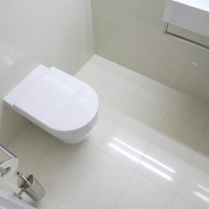 Toaleta dla gości w bieli – powierzchnia około 2 m kw. Projekt: Ola Wołczyk. Fot. Bartosz Jarosz.
