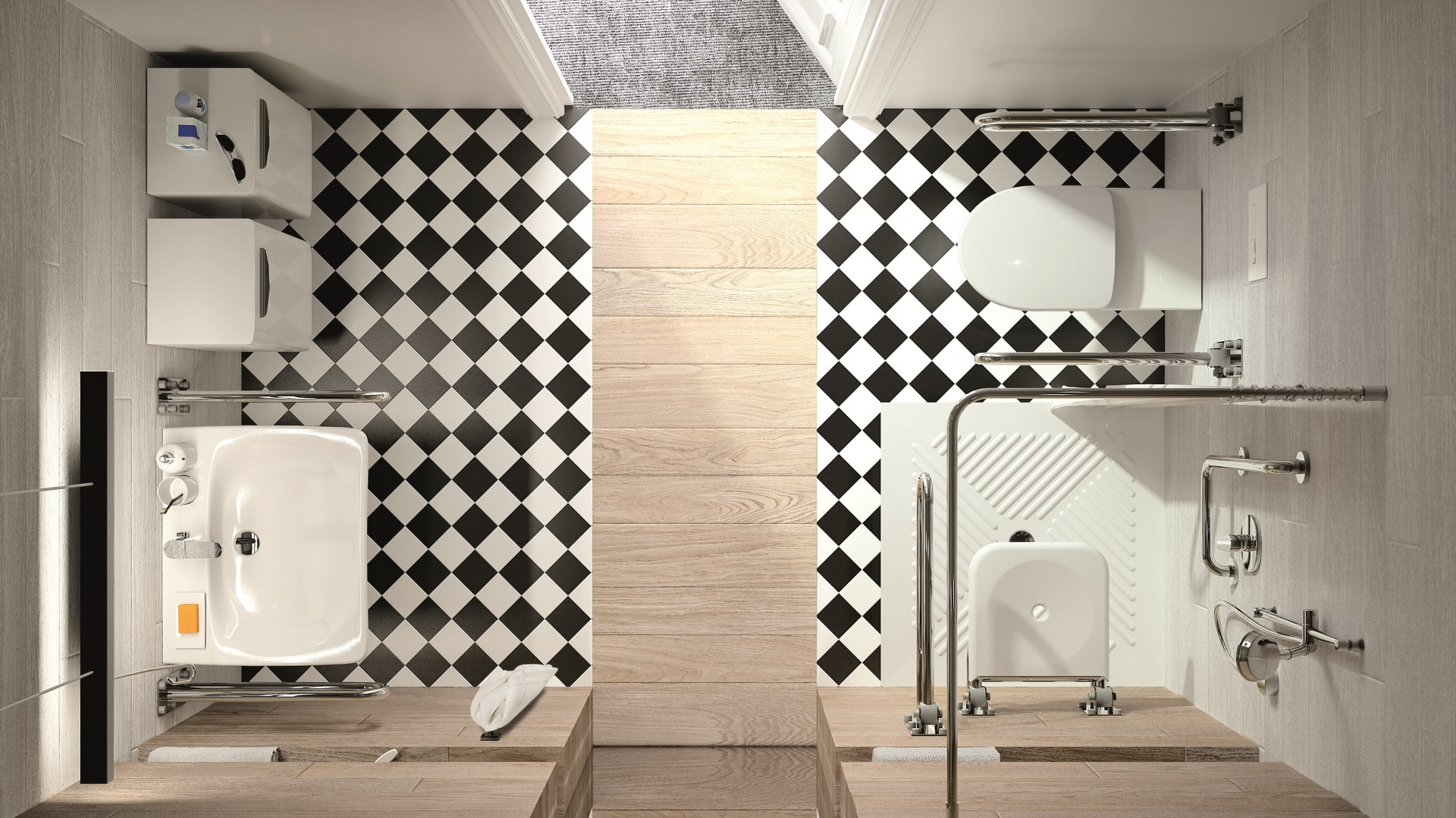 Płaski brodzik i zasłona sprawiają, że łazienka wydaje się większa i jest wygodniejsza dla osób niepełnosprawnych – seria Nova Pro Bez Barier marki Koło. Fot. Koło