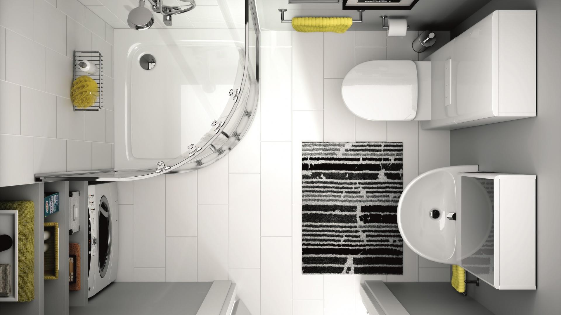 Narożna kabina, pralka we wnęce, sedes z modułem sanitarnym (maskuje instalacje), szafka z lustrem to patenty do ciasnych łazienek - seria Nova Pro marki Koło. Fot. Koło.