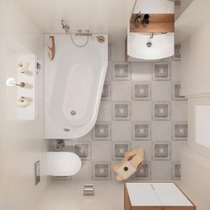 Wzorzysta podłoga dodaje białej łazience przytulności – seria płytek ceramicznych Mato marki Cersanit. Fot. Cersanit.
