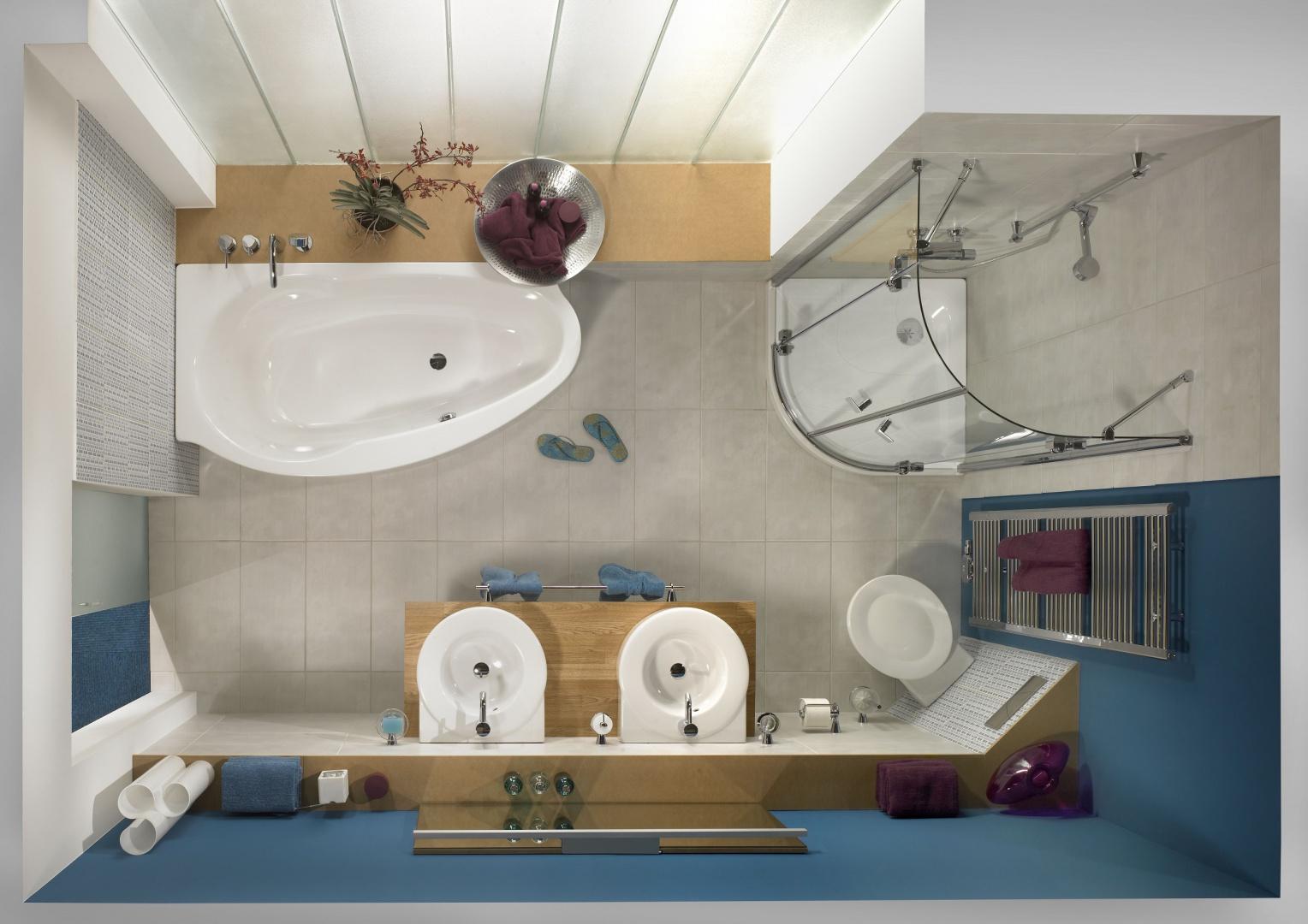Z asymetryczną wanną i narożną kabiną - łazienka z wyposażeniem formy Kaldewei. Fot. Kaldewei