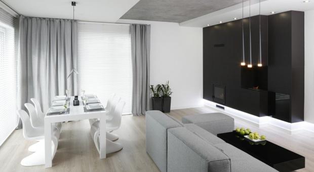 Szare wnętrze w stylu minimalistycznym