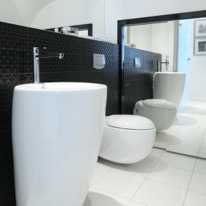 Duże lustra kilkakrotnie powiększają małą łazienkę. Za większym jest ukryty schowek. Projekt: Anna Maria Sokołowska. Fot. Bartosz Jarosz.