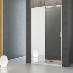 Ciekawe połączenie lustra z przezroczystym szkłem – drzwi prysznicowe Espera DWJ Mirror firmy Radaway. Fot. Radaway.