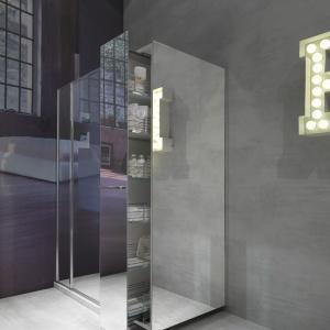 Ze schowkiem na domową pralnię – drzwi prysznicowe Twin firmy Vismaravetro. Fot. Vismaravetro.