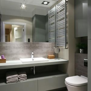W tej łazience meble trudno zauważyć – to wysoki słupek i szafka do sufitu nad sedesem. Projekt: Lucyna Kołodziejska. Fot. Bartosz Jarosz.