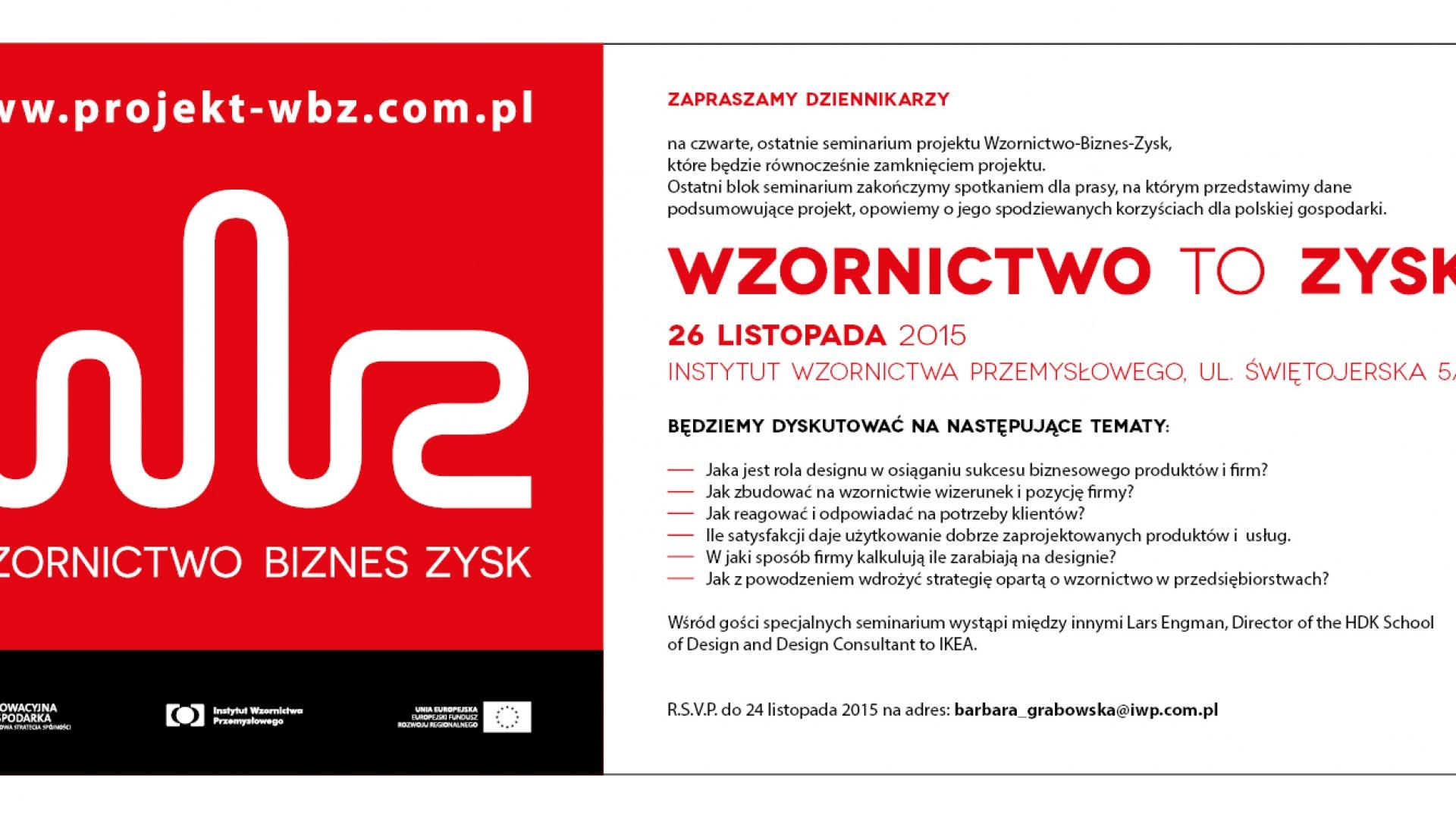 Organizatorem seminarium Wzornictwo-Biznes-Zysk jest Instytut Wzornictwa Przemysłowego.