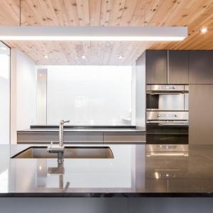 Całość jest utrzymana w nowoczesnym stylu, z gładkimi, matowymi frontami, podwieszanym zlewozmywakiem oraz sprzętem AGD wbudowanym w wysoką zabudowę. Projekt: MU Architecture. Fot. Julien Perron-Gagné.