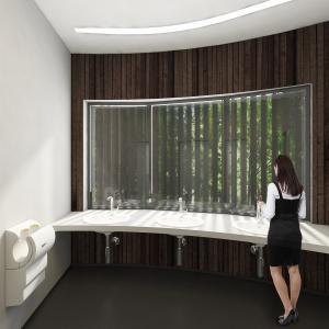 Rozwiązanie projektu na planie koła, pozwoliło na wytworzenie się dwóch zadaszonych stref wejściowych pozwalających na dostęp do toalet z dwóch kierunków. Fot. KOŁO.