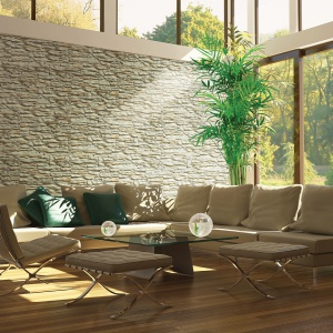 Naturalny kolor i jedyna w swoim rodzaju faktura to niepowtarzalne cechy kamienia Arizona. Kamień ten doskonale sprawdzi w zestawieniu z nowoczesnymi meblami. Fot. Stone Master.
