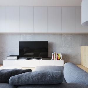 Z betonowymi płytami na ścianie za TV harmonizuje kolorystycznie szary tapicerowany wypoczynek. Projekt i wizualizacje: 081 Architekci.