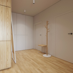 W strefie wejścia wykonano wysoką zabudowę, poprowadzoną od ziemi po sam sufit. Funkcjonuje ona jako garderoba oraz schowek na domowe szpargały, środki czystości etc. Wykończenie w białym macie sprawia, że mebel pozostaje niemal niezauważony. Projekt i wizualizacje: 081 Architekci.