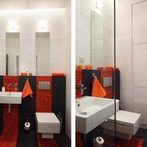 W małej łazience zmieściły się zabudowa z pralką i prysznic. Powierzchnia: około 3 m². Projekt: Michał Mikołajczak. Fot. Monika Filipiuk-Obałek.