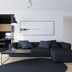 Salon urządzono w minimalistycznym stylu, a przytulność buduje drewniana podłoga oraz tapicerowany wypoczynek. Projekt i wizualizacje: 081 Architekci.