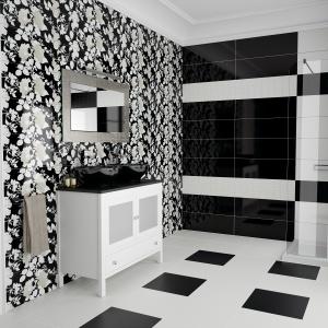 Graficzne, biało-czarne kontrasty i kwieciste dekory - płytki ceramiczne Cool firmy Ceracasa. Fot. Ceracasa.