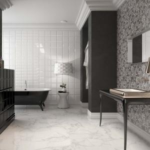 Modne zestawienie biało-czarne: kwadraty i patchwork - płytki ceramiczne Metropolitan firmy Argenta. Fot. Argenta.