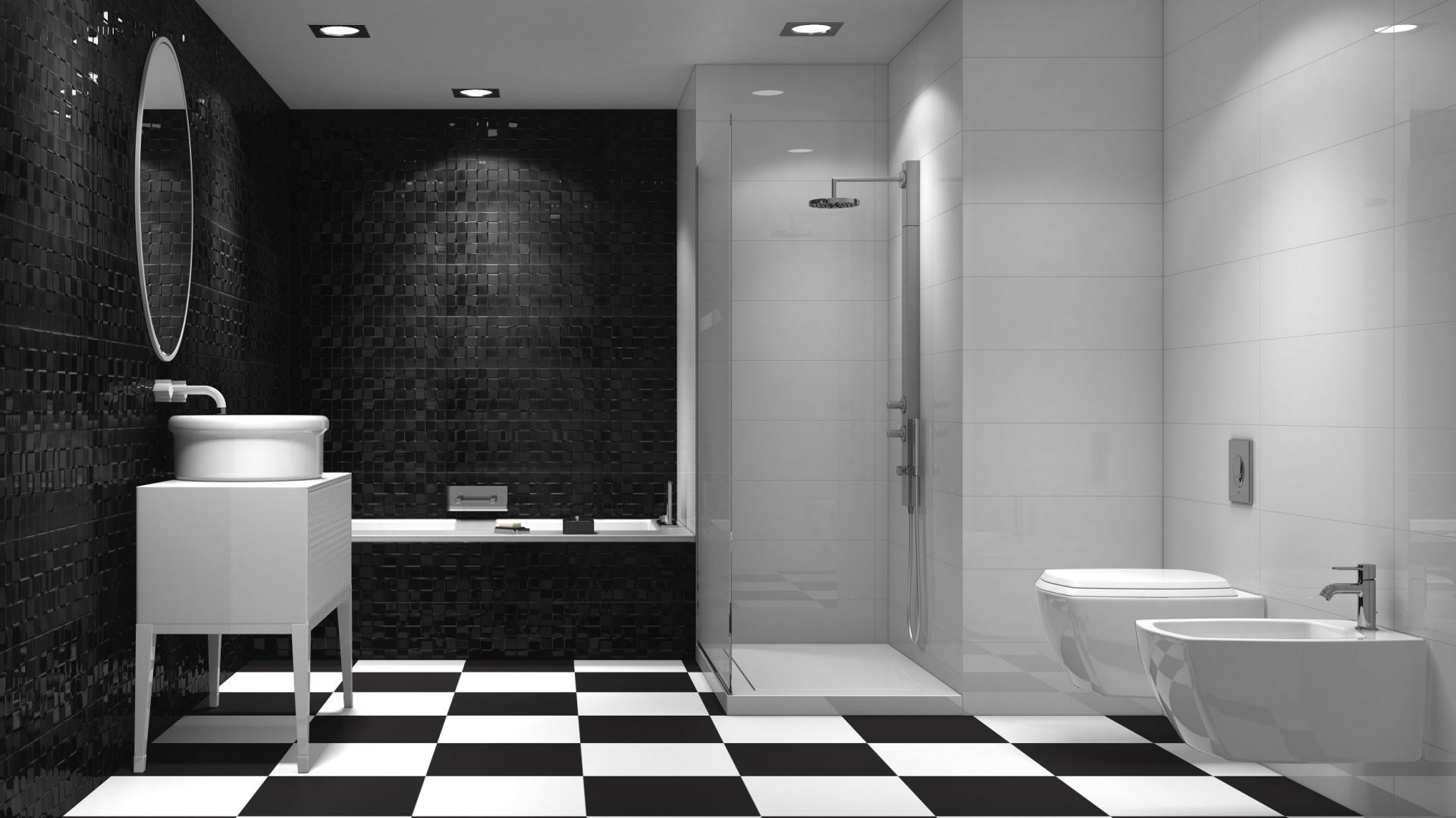 Część ścian białych, część...  Biało-czarna łazienka. 15 najpiękniejszych płytek ceramicznych ...