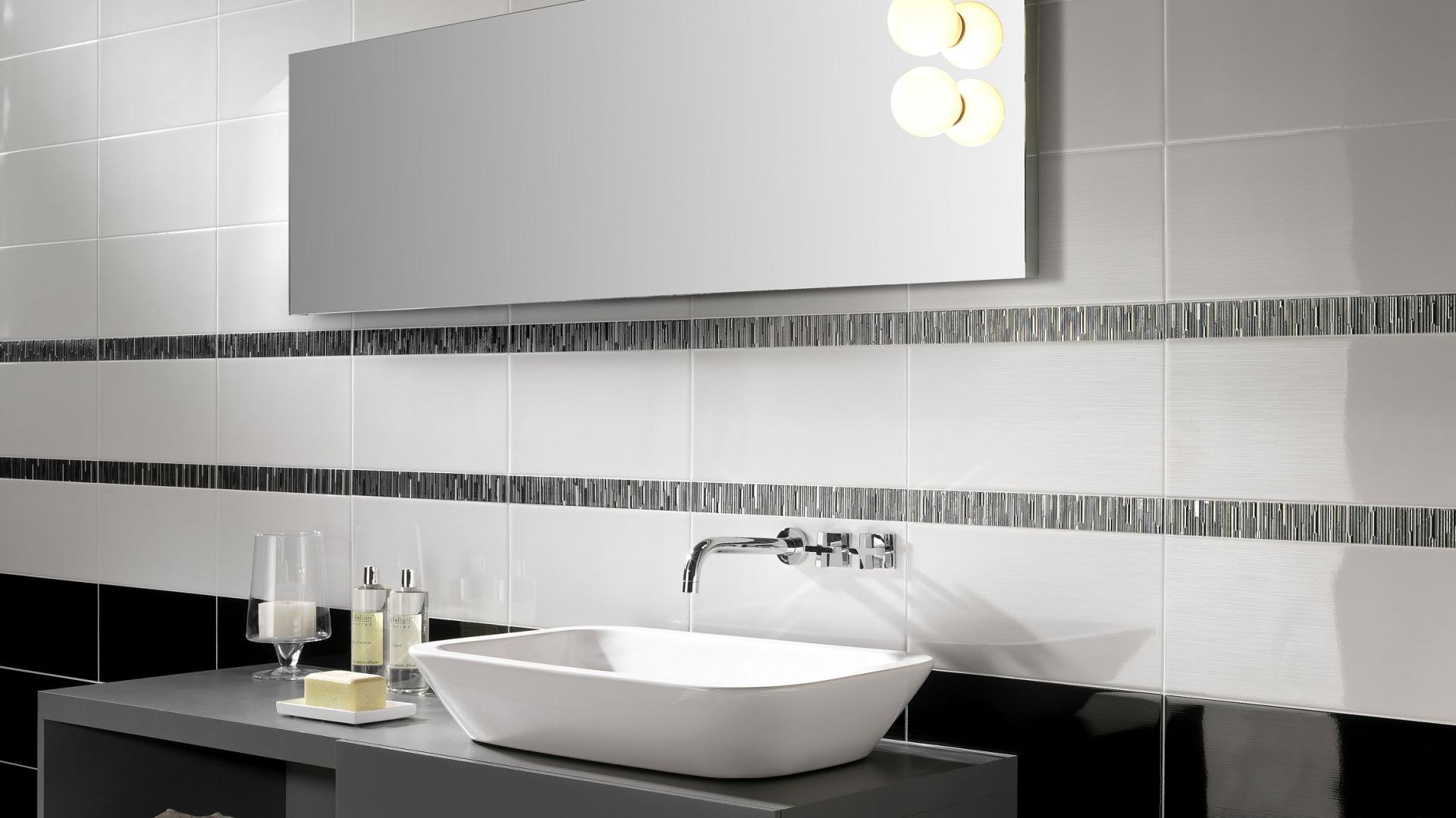 25d044c331f265 Biało-czarna łazienka. 15 najpiękniejszych płytek ceramicznych