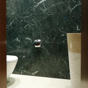 Wykończona marmurem łazienka dla gości jest stylowa i elegancka. Fot. Bartosz Jarosz.