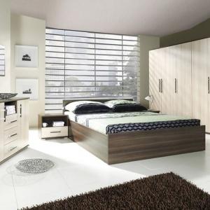 Sypialnia Inez Plus. Mebel wykonany z płyty laminowanej z wzmocnieniami obrzeży ABS. Materiały te gwarantują, że produkt będzie służył parze przez długi czas. Fot. Jurek Meble.