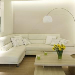 W niedużym salonie przeskalowana lampa z białym kloszem doświetla strefę wypoczynku. Projekt: Marta Kilan. Fot. Bartosz Jarosz.