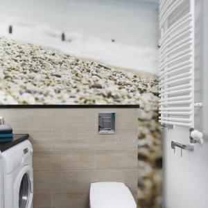 Ścianę nad WC pokrywa fototapeta ze zdjęciem morskiego krajobrazu, która zdaje się wyznaczać reżim kolorystyczny w całym pomieszczeniu. Projekt: Joanna Morkowska-Saj. Fot. Bartosz Jarosz.