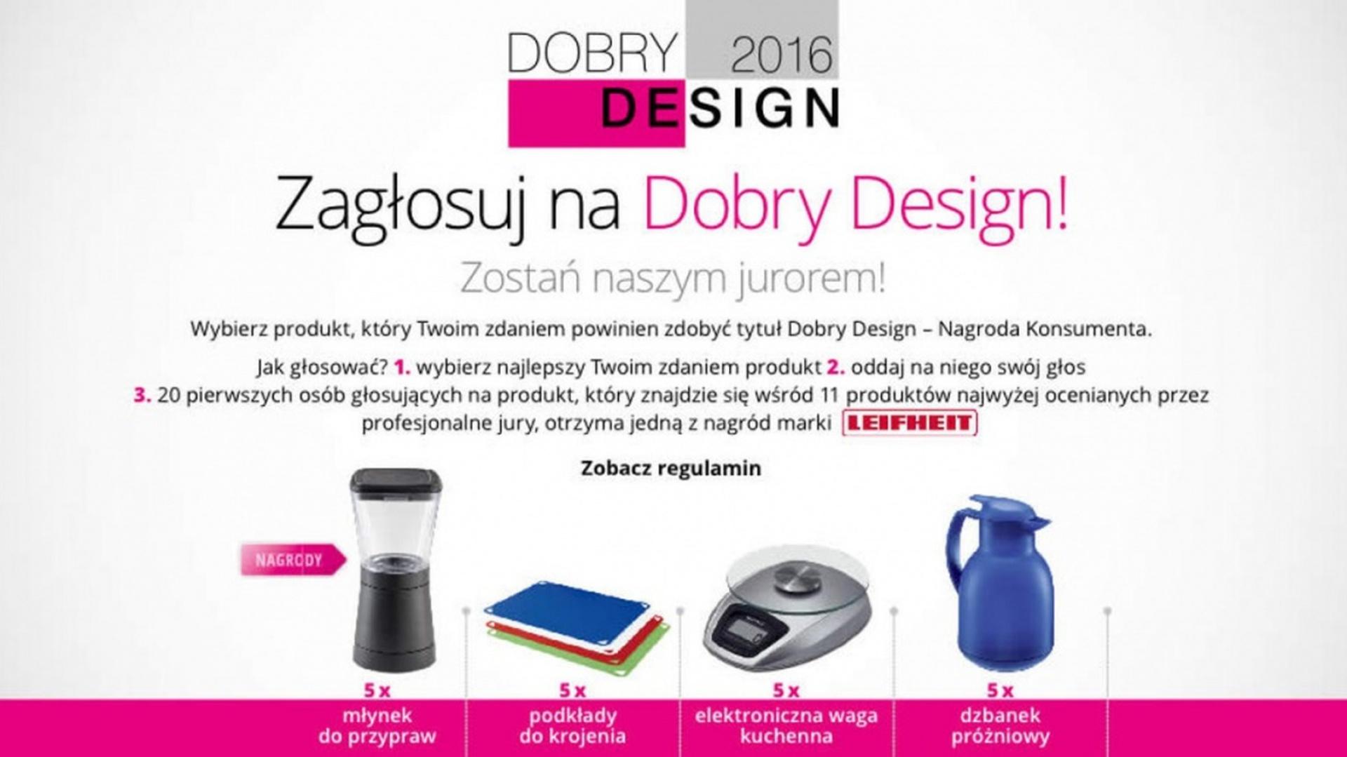 Nagrody za głosowanie konsumentów na Dobry Design 2016 przyznane.