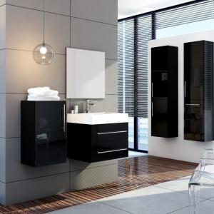 Bez cokołów, z płyty MDF akryl – meble łazienkowe Amsterdam firmy Aquaform w eleganckim, czarnym kolorze. Fot. Aquaform.