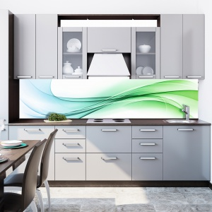 Szarości szafek kuchennych dobrze jest skontrastować z bardziej ożywionym kolorem. Fototapeta ma abstrakcyjny, zielony wzór. Zabezpieczona szkłem, będzie długo dekorować ścianę nad blatem. Na zdjęciu: fototapeta z linii FKA175 firmy DecoMania. Fot. DecoMania.