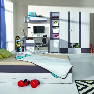 Kolekcja Next posiada elementy pozwalające na lepsze utrzymanie porządku w pokoju. Szuflada łóżka pozwala na wygodne przechowywanie pościeli. Fot. Meblar.