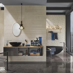 Beż z wzorami sześciokątów i pasków - płytki ceramiczne Experience Wall firmy Italgraniti. Fot. Italgraniti.