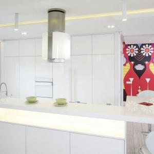 W kuchni nie ma dolnej zabudowy. Jest natomiast pojemna, wysoka zabudowa poprowadzona przez całą ścianę - od podłogi aż po sufit, w której umiejscowiono sprzęt AGD oraz ogromną powierzchnię schowków. Projekt: Dominik Respondek. Fot. Bartosz Jarosz.