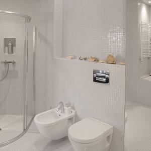 Duże lustro na ścianie stwarza złudzenia, że to dalsza część łazienki. Powierzchnia: ok.7 m². Projekt: Dorota Szaroszyk. Fot. Marcin Onufryjuk.