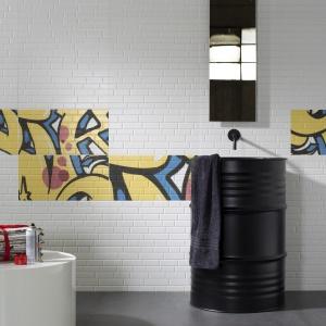 Stylizowane na białe cegły - płytki ceramiczne Mush Up Murales firmy Imola Ceramica. Fot. Imola Ceramica.