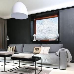 W nowoczesny salonie ustawiono 3-osobową sofę w jasnoszarej kolorystyce. Projekt: Kasia Dudko, Michał Dudko. Fot. Bartosz Jarosz.