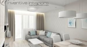 Część mieszkalna małego mieszkania obejmuje korytarz, kuchnię, salon, dwie łazienki i garderobę. W projekcie użyto takich barw jak: beż, szarość, biel oraz delikatny akcent błękitu.