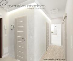 Podświetlona biała tapeta w korytarzu