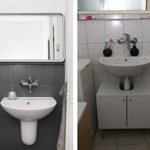 PO I PRZED REMONTEM: Spod umywalki została usunięta niemodna szafka. Zastąpił ją półpostument ceramiczny.