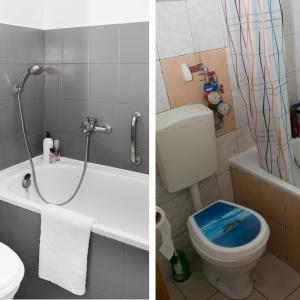 PO I PRZED REMONTEM: Farba ujednoliciła kolorystykę łazienki. Wymieniono też deskę sedesową. Teraz dominuje modna szarość.