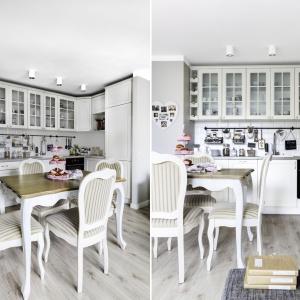 Stylizowane krzesła i stół w jadalni idealnie harmonizują z pięknymi klasycznymi meblami kuchennymi. Lekkości przestrzeni dodają przeszklone szafki górne. Projekt: Decoroom. Fot. Ayuko Studio.