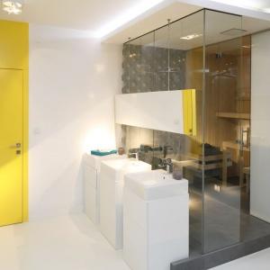 Szklane ściany oddzielające strefę prysznicową od sypialni nie zmniejszają optycznie wnętrza, a wręcz przeciwnie nadają mu rozmachu. Fot. Bartosz Jarosz.