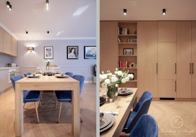 Stół przylegający do wyspy stanowi granicę między kuchnią a salonem.