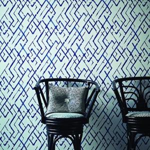 Tapety Jim Thompson. Kolekcja Pagoda and Palms wzór Fret W. Fot. Dekorian.