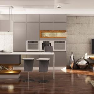 Nowoczesna kuchnia z gładkimi, matowymi frontami w szarym kolorze. Z szarą zabudową kuchenną harmonizuje modny beton na ścianie w salonie. Fot. WFM Kuchnie, model Calma szary.